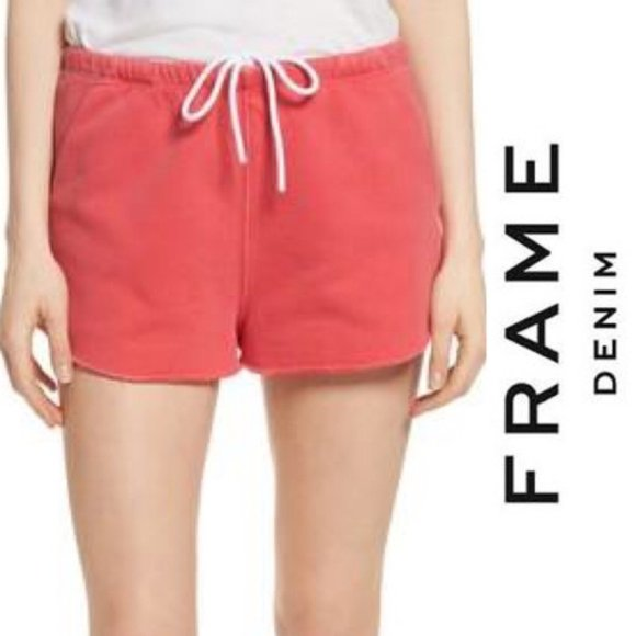 Frame Denim Pants - NWT Frame Denim Raw Edge Terry Track Shorts, MED
